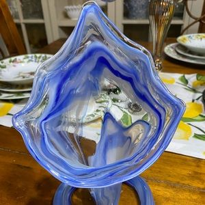 Vintage blown art glass spiral stem blue clear